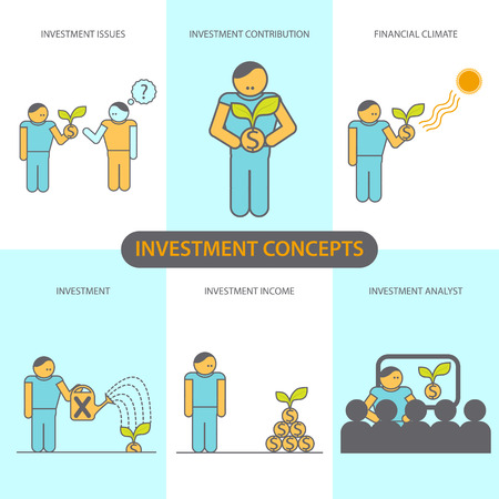 investment concept: Modern Flat line design concept of Financial Investment, Investment Issues, Financial climate, investment contribution, investment income, Investment analyst.