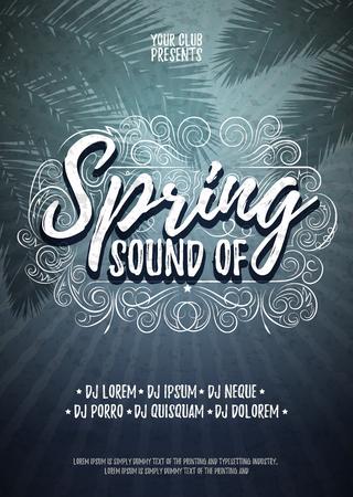 봄의 소리 인쇄 포스터 또는 전단지 배경 템플릿입니다. 벡터 음악 파티 일러스트 레이션