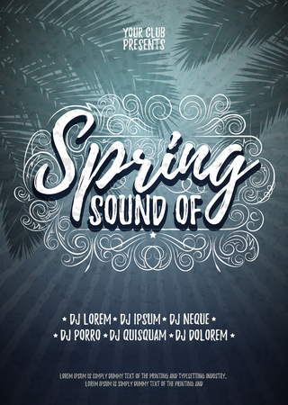 Sound of Spring Typographical Poster or Flyer Background Template. Vector Music Party Illustration