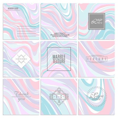 Abstract creative card templates. Weddings, menu, invitations, birthday, business cards with marble texture in trendy colors Çizim