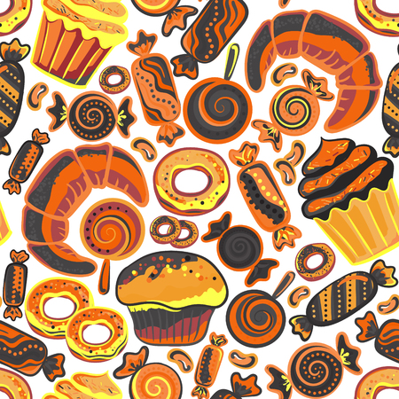 baked goods: Vector food bakery seamless pattern with baked goods. Flour products from pastry shop. Illustration for print, web. Original design element. Brown orange colors. Illustration