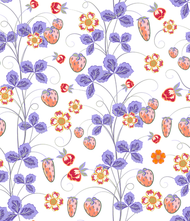 wild strawberry: Bright seamless pattern with a strawberry, leaves and flowers.