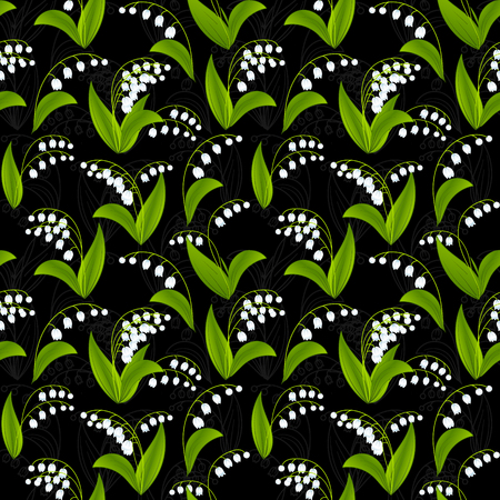 Simplified image of spring flower. Lily of the valley flowers on dark background. Floral seamless texture. Illusztráció