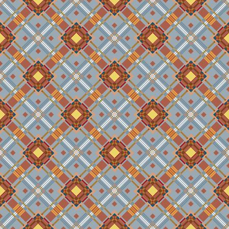 diagonale: Color fabric plaid. Seamless vector illustration.  Classic diagonale square textile pattern. Blue brown men fashion pattern.