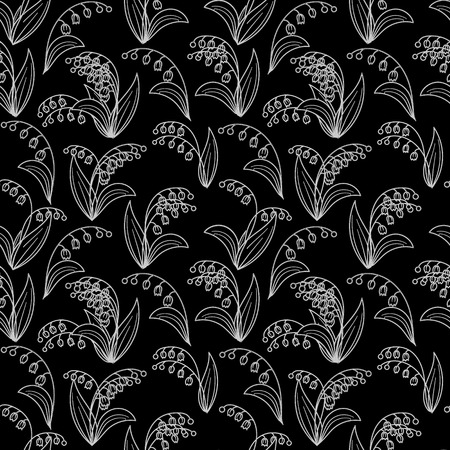 Seamless black and white pattern with lilies of the valley on a black background.