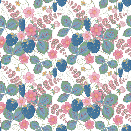 ripened: Pastel pink blue brown seamless pattern with a strawberry, leaves and flowers.