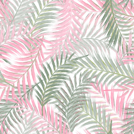 Foglie di palma. Seamless pattern. Foglia di palma in rosa grigio su sfondo bianco. Alberi tropicali lascia. Vettoriali