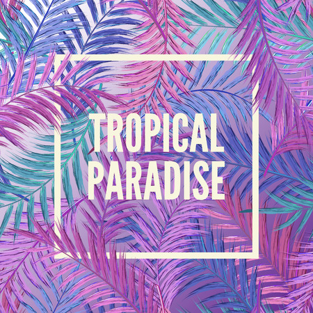 miami south beach: Tropical background of palm leaves. Seamless tropical palm leaves backdrop. Illustration
