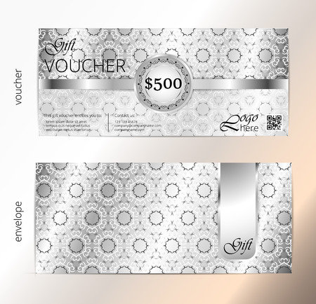 Voucher and envelope set, Gift certificate, Luxury Coupon template. Floral, scroll pattern. Background design for invitation, ticket, cheque. Silver vector