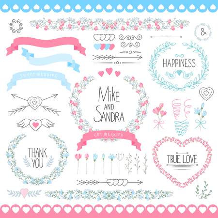 butterfly stationary: Wedding graphic set arrows hearts laurel wreaths ribbons and labels. Illustration