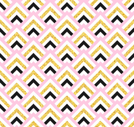 pink and black: Geometric pink black and gold glittering seamless pattern on white background. Abstract geometric seamless pattern
