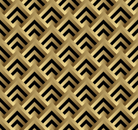 Seamless black and gold square art deco pattern vector.