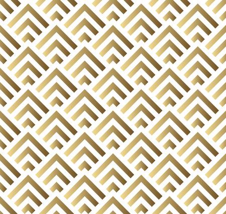 ベクターのシームレスなパターン。モダンなスタイリッシュな正方形のテクスチャです。ゴールドと白のシームレスな幾何学的なパターン