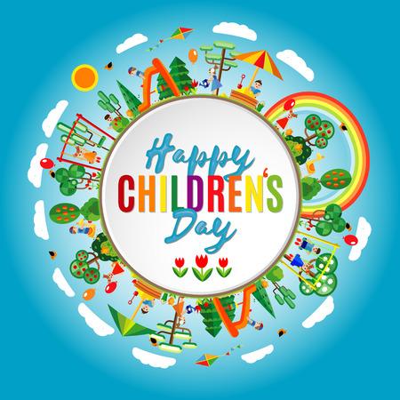 Il giorno dei bambini felici. Illustrazione vettoriale di universali bambini manifesto giorno. Childrens sfondo giorno. Archivio Fotografico - 55822717
