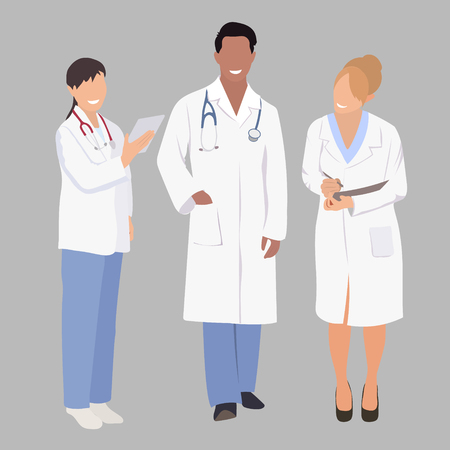 hospital corridor: A group of medical  professionals. Vector illustration of three members of a medical team. A medical team of doctors or surgeons with white coats and stethoscopes. Doctor in full growth.