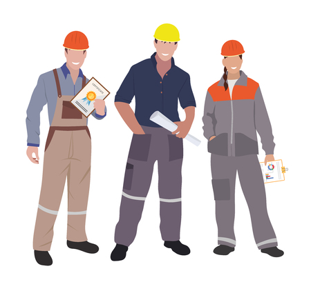 engineering and technology: Civil engineer, architect and construction workers characters group. Vector flat design construction team characters. Group of construction workers in hard hats friendly smiling. Men & women.