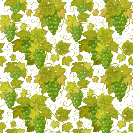 sappy: Seamless background with green grapes. Vector illustration