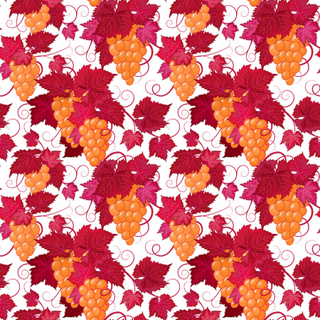 flor: Hand drawing seamless floral pattern with yellow grape and red leaves on white background.