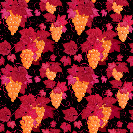 black grape: Hand drawing seamless floral pattern with yellow grape and red leaves on black background.