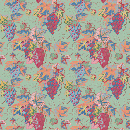 gobelin tapestry: Seamless pattern with branches, leaves and berries of grapes on gobelin tapestry tone. Vector. Designs for textiles, paper, fabrics, wallpaper Illustration