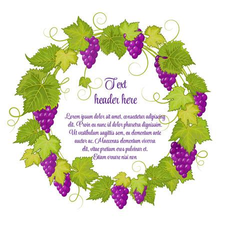 Hand getrokken krans met druiven geïsoleerd op een witte achtergrond. Het kan worden gebruikt voor bruiloften, uitnodigingen, menu's, etiketten voor wijn en wijnazijn. Violet druiven met heldergroene bladeren.