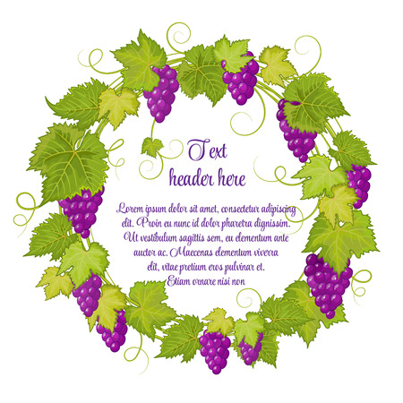 Hand drawn wreath with grapes isolated on white background. It can be used for weddings, invitations, menus, labels for wine and wine vinegar. Violet grapes with bright green leaves.