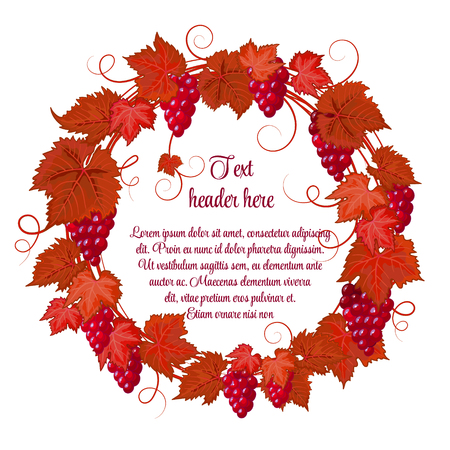 reg: Wreath of grapes and grape leaves hand drawing vector isolated on white background. Red grapes with bright reg brown autumn leaves. Illustration