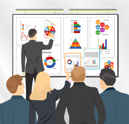 sales meeting: Sales director presenting business plan to team. Marketing plan in board. Flat vector stock illustration. Meeting or conference.