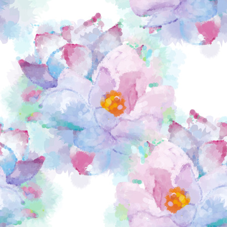 not painted: Hand painted watercolor imitation vector magnolia seamless pattern background. Not trace. Delicate flowers pattern.