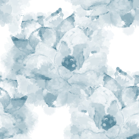 not painted: Hand painted watercolor imitation vector magnolia seamless pattern background in blue. Not trace. Illustration