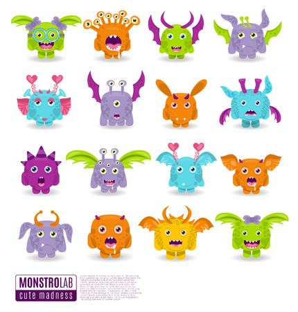 Large vector set of drawings of different characters isolated monsters. Halloween characters for your design, prints and banners Vettoriali