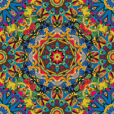 mongoloid: Seamless, vector, bright, ornate pattern with mandalas. Template for textiles, shawl, carpet,  tile. Oriental ornament  in bright rainbow colors