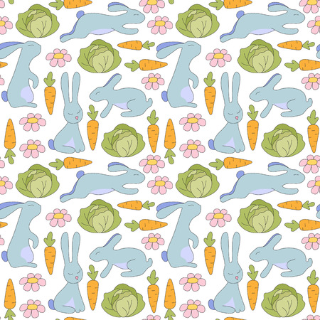 sits: Seamless pattern blue rabbit jumps, sits, lies and flowers, green cabbage, orange carrots with green twigs. Vector Illustration. Kids background. Illustration
