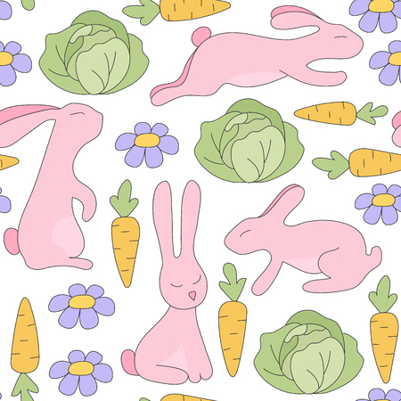 sits: Seamless pattern pink rabbit jumps, sits, lies and flowers, green cabbage, orange carrots with green twigs. Vector Illustration. Kids background.