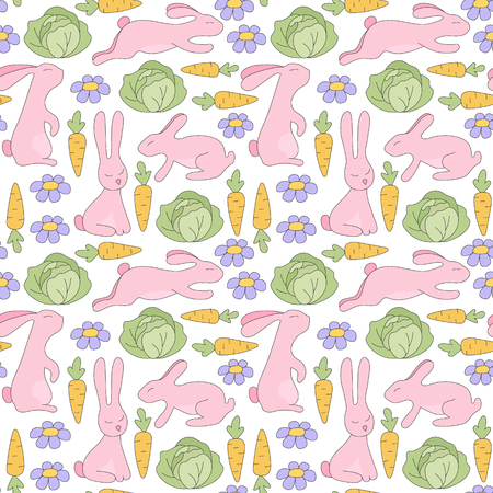 pink rabbit: Seamless pattern pink rabbit jumps, sits, lies and flowers, green cabbage, orange carrots with green twigs. Vector Illustration. Kids background.