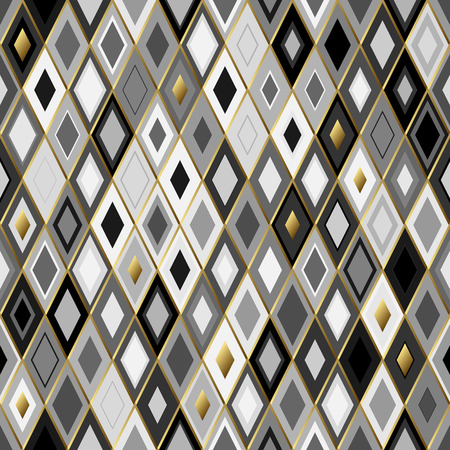ordered: Black, gold and white  abstract textured geometric seamless pattern with golden outline. Symmetric monochrome vector textile backdrop. Ordered rhombs.