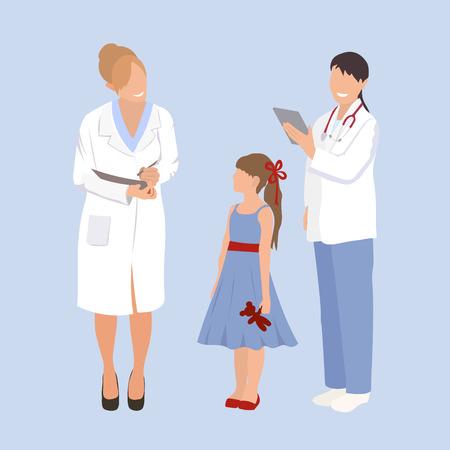 медсестра осматривает девочку