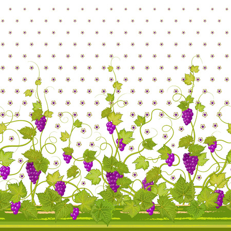 Vertical Seamless green violet floral pattern with grape, leaves and flowers. Hand drawn texture for clothes, bedclothes, invitation, card design etc.