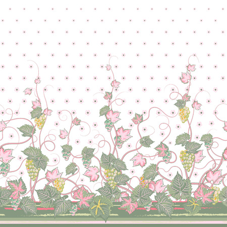 bedclothes: Vector seamless vertical pattern with Decorative pink gray grape, leaf and flowers ornament on white background, hand drawn texture for clothes, bedclothes, invitation, card design etc.