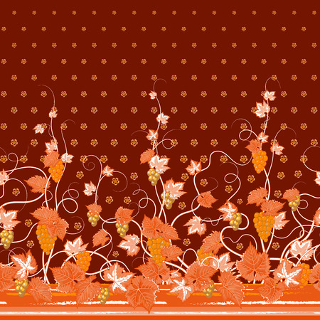 bedclothes: Vector seamless vertical pattern with Decorative orange grape, leaf and flowers ornament on brown background, hand drawn texture for clothes, bedclothes, invitation, card design etc. Illustration
