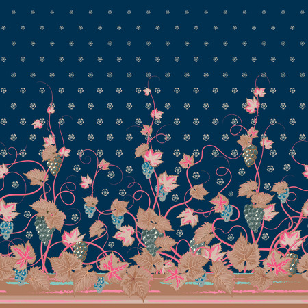 bedclothes: Vector seamless vertical pattern with Decorative pink beige grape, leaf and flowers ornament on blue background, hand drawn texture for clothes, bedclothes, invitation, card design etc. Illustration