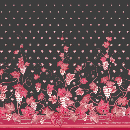 bedclothes: Vector seamless vertical pattern with Decorative pink grape, leaf and flowers ornament on gray background, hand drawn texture for clothes, bedclothes, invitation, card design etc. Illustration