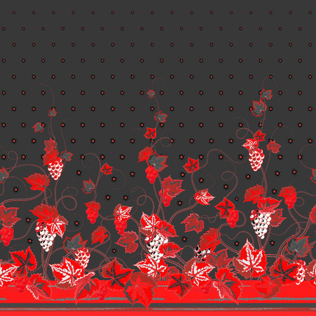 bedclothes: Vertical Seamless red gray floral pattern with grape, leaves and flowers on dark gray background. Hand drawn texture for clothes, bedclothes, invitation, card design etc. Illustration