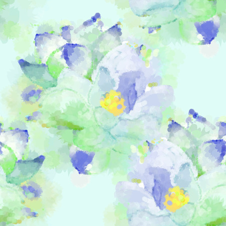 not painted: Hand painted watercolor imitation vector magnolia seamless pattern background in blue green. Not trace. Illustration