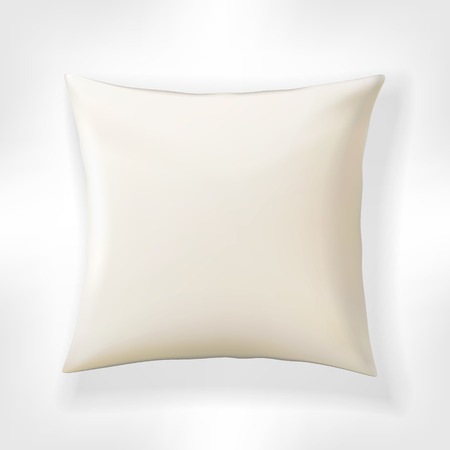 cotton velvet: White vector pillow. Realistic blank template for your design.
