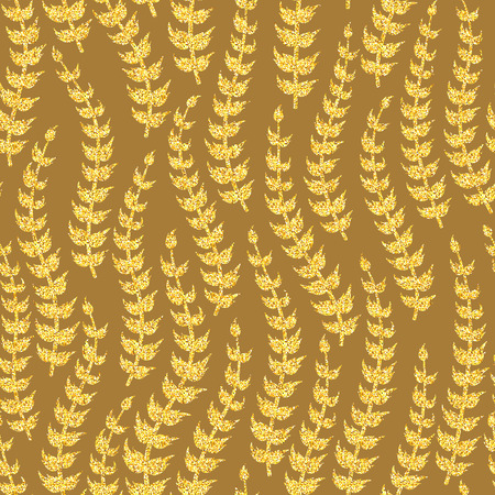 brown pattern: Vector abstract floral seamless pattern. Exotic foliage silhouette. Gltter golden branch on brown background. Wallpaper, bohemian textile print, batik paint Illustration