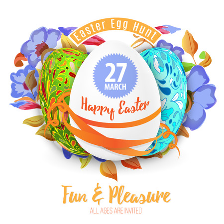 flier: Easter egg hunt in the flowers design vector royalty free stock illustration for greeting card, ad, promotion, poster, flier, blog, article background.