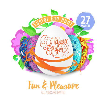 royalty free: Easter egg hunt in the flowers design vector royalty free stock illustration for greeting card, ad, promotion, poster, flier, blog, article background.