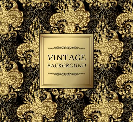 vintage background pattern: Luxury gold vintage background. Vector greeting card with gold floral ornament. Seamless pattern on back. Vector illustration. Gold on black. Illustration