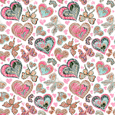love image: Seamless pattern with colorful vintage pastel pink blue butterflies, flowers and hearts on white background. Vector illustration
